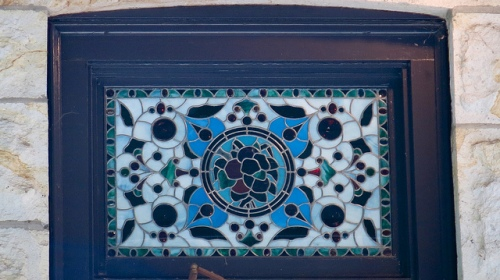 Stained glass window on Rhine House