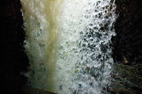 Behind a waterfall