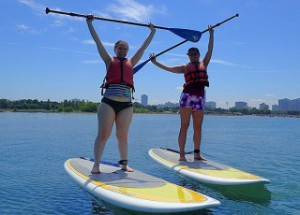 Yoga on a stand up paddle board!