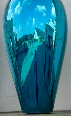 Reflections in vases outside the Judiciary City Courthouses